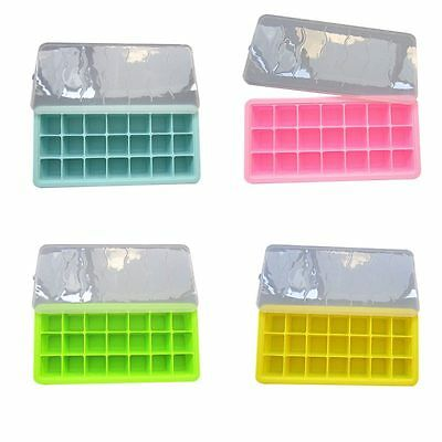 Ice Cube Trays with lid Containers Baby Food Ingredients Storage Case Freezer