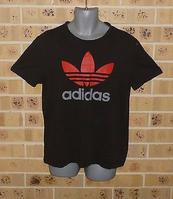 ADIDAS XL Mens Tee Fitted 100% Cotton T Shirt Black Pre Owned