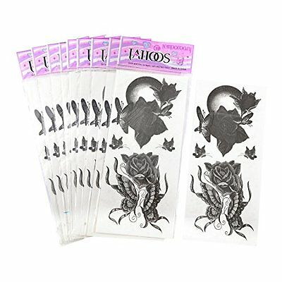 SOURCINGMAP BUTTERFLY FLORAL PRINT TEMPORARY TRANSFER TATTOO STICKER GRAY Nuovo