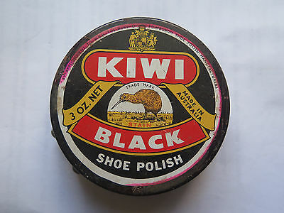 KIWI BOOT POLISH TIN c1960s BLACK SHOE POLISH MADE in AUSTRALIA 3 Oz