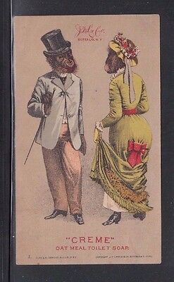 Advertising Trade Card for Creme Oat Meal Soap Monkeys in Formal Dress