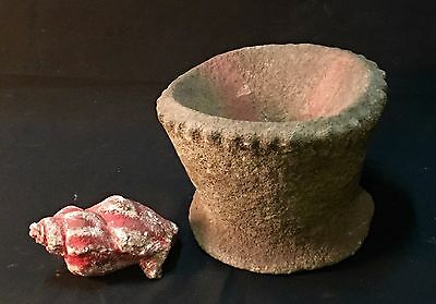 LARGE PRE-HISTORIC RITUAL BOWL, and SHELL FOSSIL.