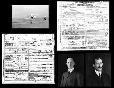 Wright Brothers DEATH CERTIFICATE Lot+3 PHOTOS, First Flight 1903,Orville Wilbur