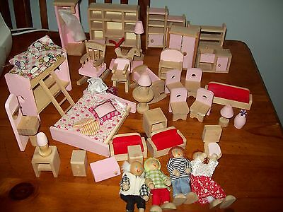 Wooden Doll House Furniture And People
