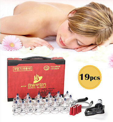 Hansol Professional Cupping Therapy Equipment Set with pumping handle 19 Cups