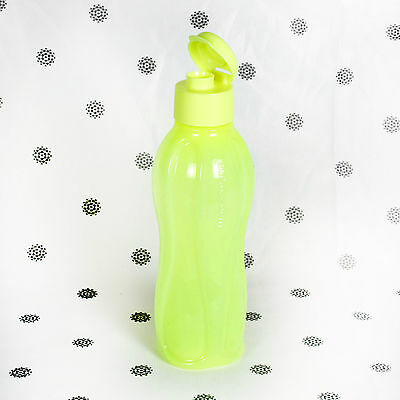 Tupperware Eco Drink Bottle 1Lt Flip Top FLURO Yellow H2O on the Go NEW