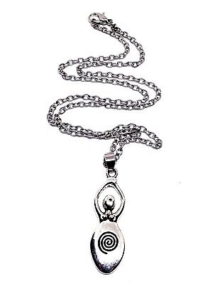 "Spiral Earth Goddess Pendant Diana Artemis Goddess 18"" Chain Necklace Wiccan"