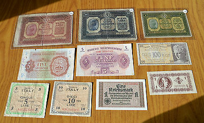 LOTTO 10 banconote INGHILTERRA 5 SHILLINGS CASSA VENETA GERMANIA MARK AM LIRE