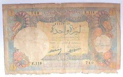 Bank Of Syria In Lebanon Syrie Liban One Livre 1 Livre 1939 P.15 cyprus View