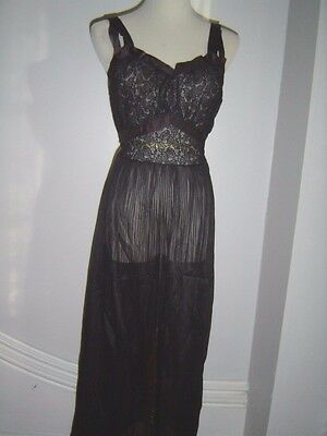 40S Vintage Black Lace Negligee Slip Nightgown Xs S 32
