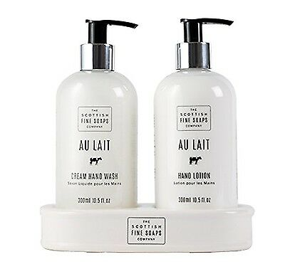 Scottish Fine Soaps Au Lait Hand Care Set 300 ml (Hand Wash, Lotion and Ceramic