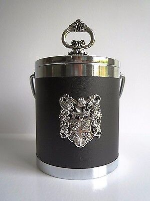Vintage Black and Silver ICE BUCKET with Crest detail RETRO KITSCH