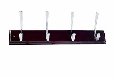 Bulk Hardware BH03301 Large Ribbed Hat and Coat Hooks on Mahogany Rail with Brig