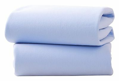 Clair de Lune Moses Basket Cotton Jersey Fitted Sheets (Pack of 2, Blue)