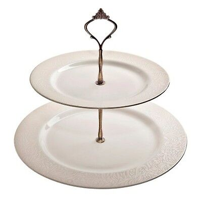 Denby 28.5 cm Monsoon Lucille Cake Stand, Gold/ Cream