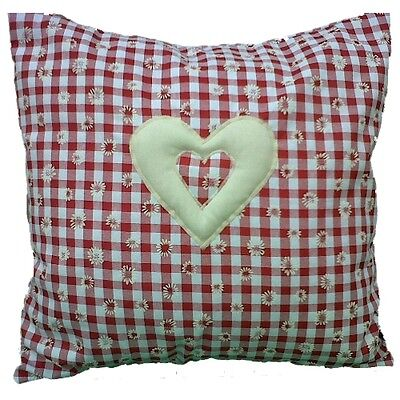 Red Cushion Cover Gingham with Daisies & Cream Heart  Shabby Country Chic Style