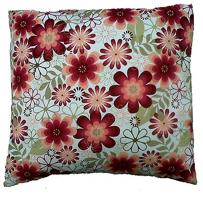 "Burgundy Red Vintage Retro Floral  Cotton Cushion Cover Size 16"" x 16"""