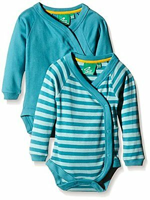 Blau 62 LITTLE GREEN RADICALS TURQUOISE LONG SLEEVE BABY WRAP 2-PACK Nuovo