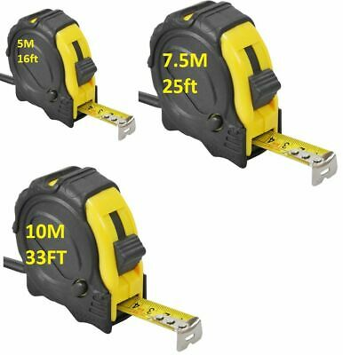5M / 7.5M / 10M METAL TAPE MEASURE Marked in mm and 1/32 inch graduations + LOCK