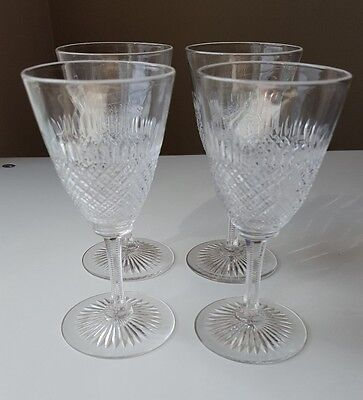 Four Vintage Delicate Crystal Wine Glass's  Prism Cut Ribbed Bowls