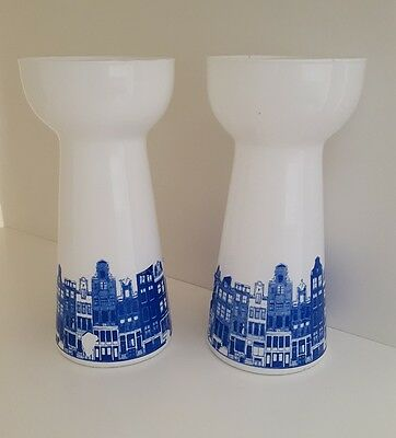 Pair of vintage blue and white city scene hyacinth vases