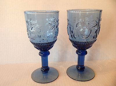 Two Depression Glass Blue Water Goblets with Pressed Fruits/Apples