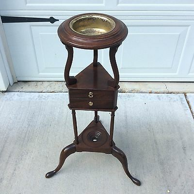 Vintage Mahogany Wig/plant Stand With Insert And Drawer