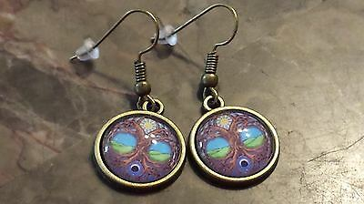 Celtic Tree of Life Sun and Moon Bronze Tone Glass Dome Earrings