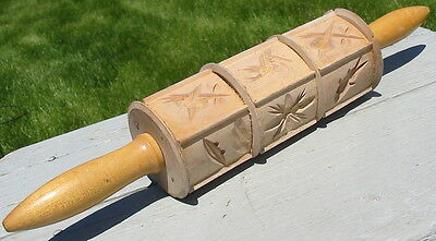 Vtg Wood Wooden Springerle Germany Rolling Pin Fish Sailboat Bird Fruit Mold Old