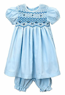 "Aurora Royal ""cotton Candy"" Blue  Polycotton Hand-Smocked Embroidered Pyjamas"