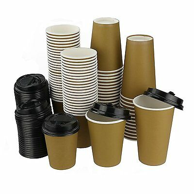 Eagrye 16 Oz Disposable Coffee Paper Cups, 100-Count Cups & Lids