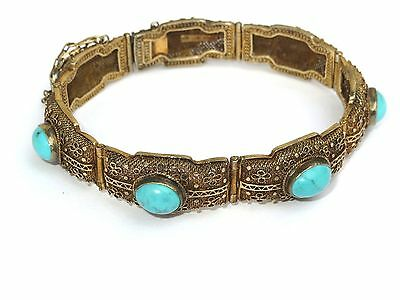 Antique Chinese Turquoise Silver Gold Gilted Filigree Bracelet