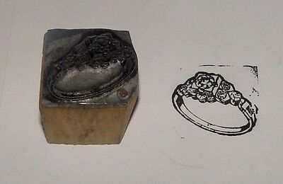 Vintage Printing Letterpress Metal On Wood Block Ring