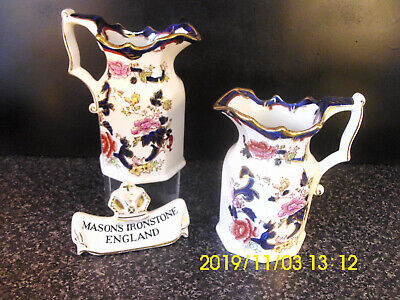 Masons Ironstone Blue Mandalay Pair Jugs Printed & Hand Painted
