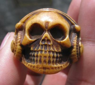 old bone hand carved man ring size12' china  antique