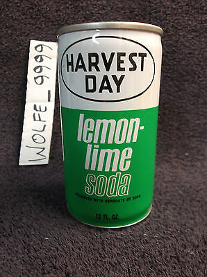 HARVEST DAY LEMON LIME CAN pop soda pull tab steel vintage 12oz ounce USED