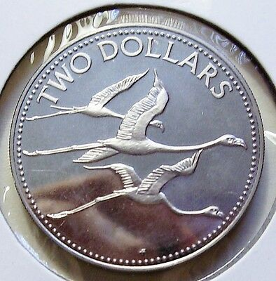Bahamas 2 Dollars Silver Proof 1985   Flamingos in Flight