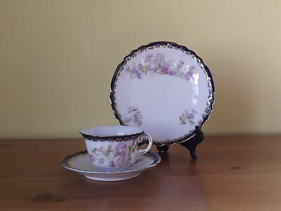 Antique Cup Saucer & Side Plate Trio ~ Cobalt Blue & Floral