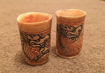 Antique Vintage Elegant Bone Chinese Vase Cup Glass w/ Dragon Hand Crafted