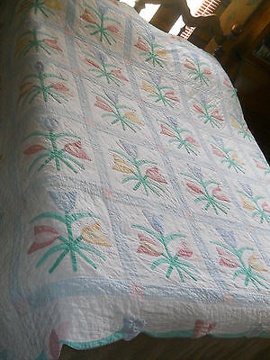 Vtg Arch Quilts-Appliqued Pastel Tulips-Springtime Quilt--hand quilted-81x83-USA