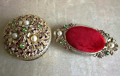 STUNNING Vintage FILIGREE FLORENZA Jeweled Red Pin Cushion Vanity Box Set of 2