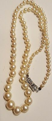 Vintage graduated Akoya pearl 3.5-8 mm10 kt fillagree diamond necklace 20""