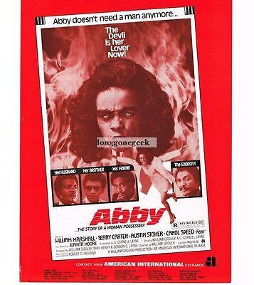 1974 Abby - Carol Speed - Horror Blaxploitation Vtg Movie Promo Ad