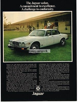 1976 Jaguar XJ White 4-door Sedan Horse Farm Vtg Print Ad