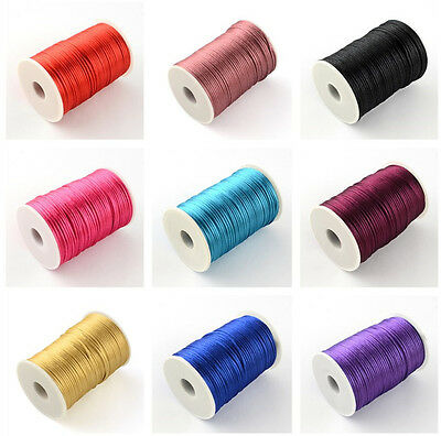 Polyester Cords 2mm Nylon Beading Craft Stitching String Multi-Color 90m/roll