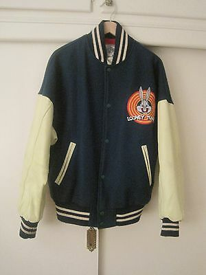 Bugs Bunny Looney Tunes Leather & Wool Acme Letterman Jacket Large