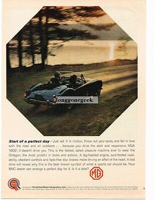 1960 MG MGA 1600 Mineral Blue Conveertible Sunset Vtg Print Ad