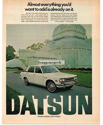1971 DATSUN 510 White 4-door Sedan in Impressionist Painting Vtg Print Ad
