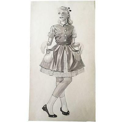 Original Mid Century Pen And Ink  Drawing Of A Girl C1950