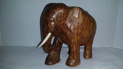"Wooden Elephant Vintage Carved 4"" Trunk Down Statue Figure"